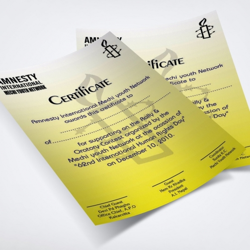 Amnesty International - Certificate - Mockup