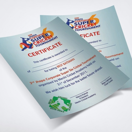 Jhapa Corporate Super Six - Certificate - Mockup