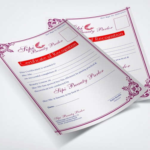 Sipi Beauty Parlor - Recognition Certificate - Mockup